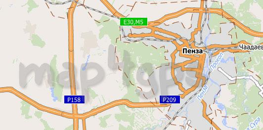 Карта Пензенской области для City Guide
