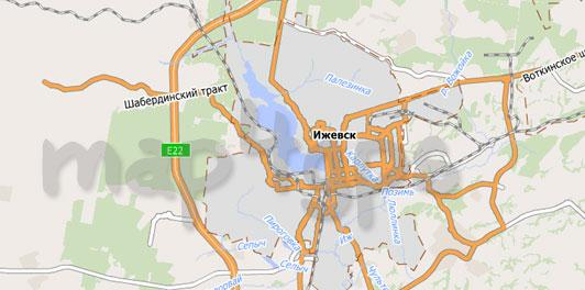 Карта республики Удмуртия для City Guide