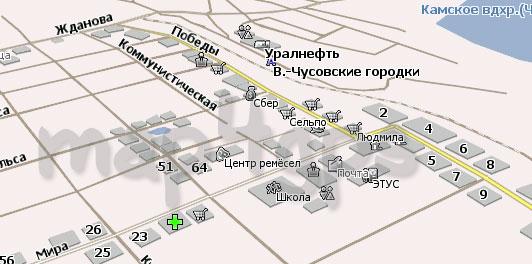 Карта Верхнечусовские Городки Навител