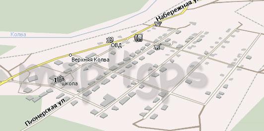 Карта Верхняя Колва Навител