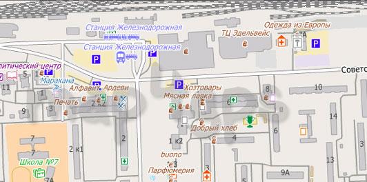 Карта Железнодорожного для City Guide
