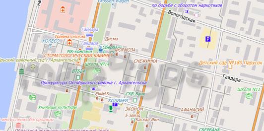 Карта Архангельска для City Guide