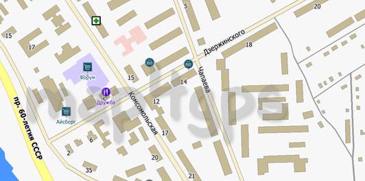 Карта Биробиджана для City Guide