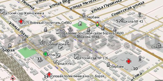 Карта Борзя Навител