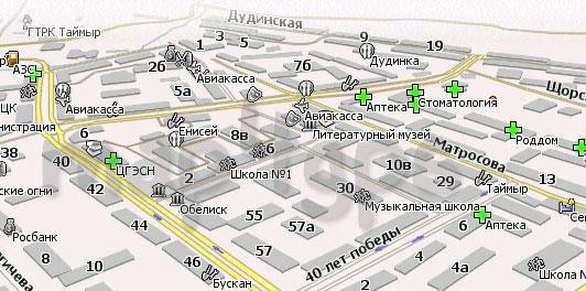 Карта Дудинка Навител