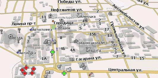 Карта Городище Навител