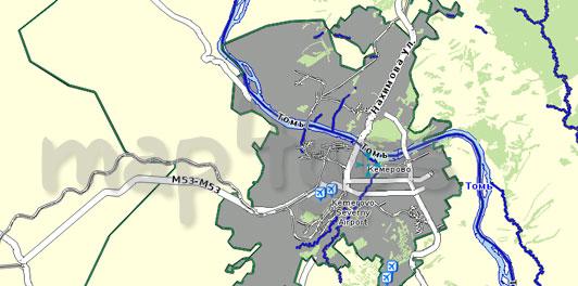 Карта Кемеровская область для Семи дорог