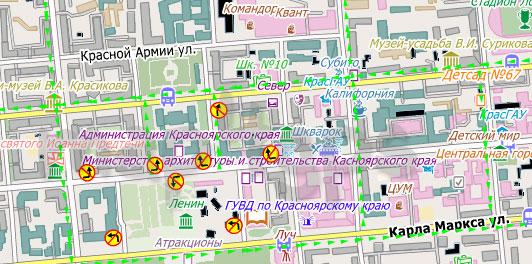 Карта Красноярск City Guide