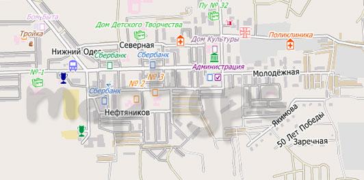 Карта Нижний Одес City Guide