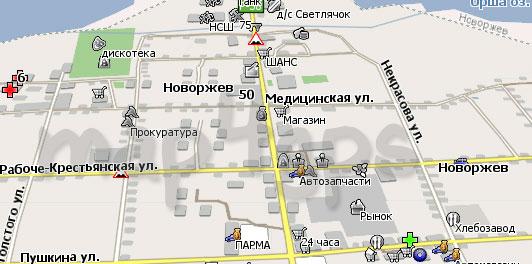 Карта Новоржев Навител