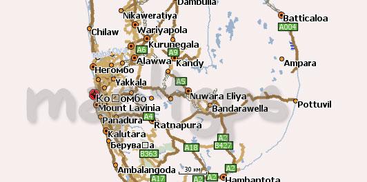 Карта Шри-Ланки для Навител