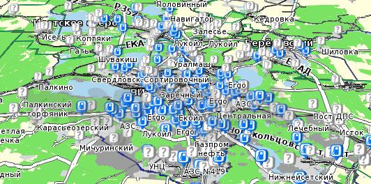 Карта Свердловская область Семь дорог