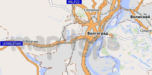 Карта Волгоградской области для City Guide