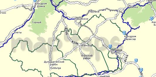 Карта Забайкальский край для Семи дорог